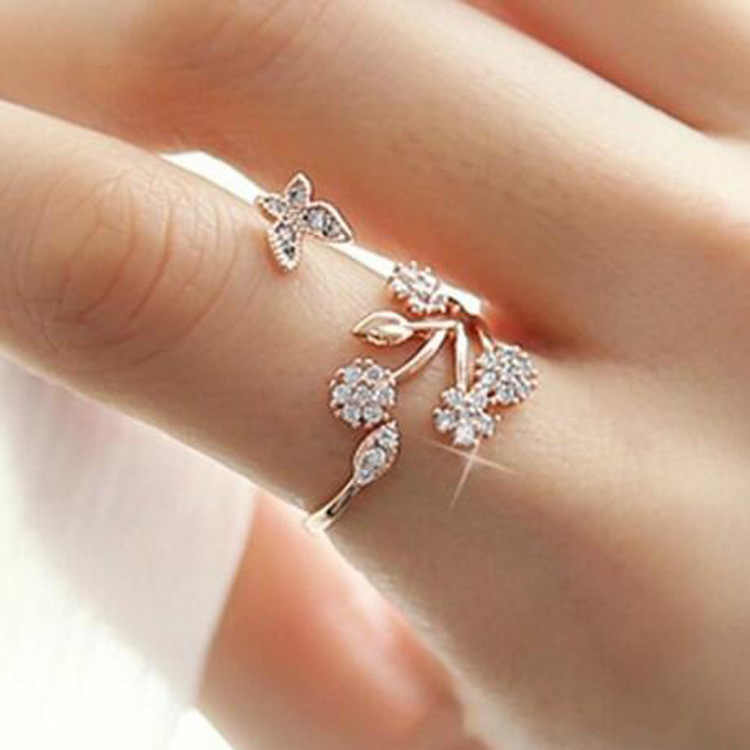 Flower Rose Gold Color Adjustable Rings for Women Fashion Rhinestone Jewelry Engagement Ring Gold Color for Female Anillos Mujer