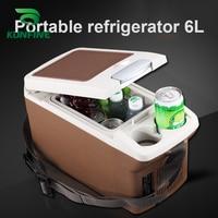 KUNFINE 12 В DC автомобильный холодильник 6л мульти-функция холодильник автомобильный переносной холодильник морозильник Коричневый низкая эне...
