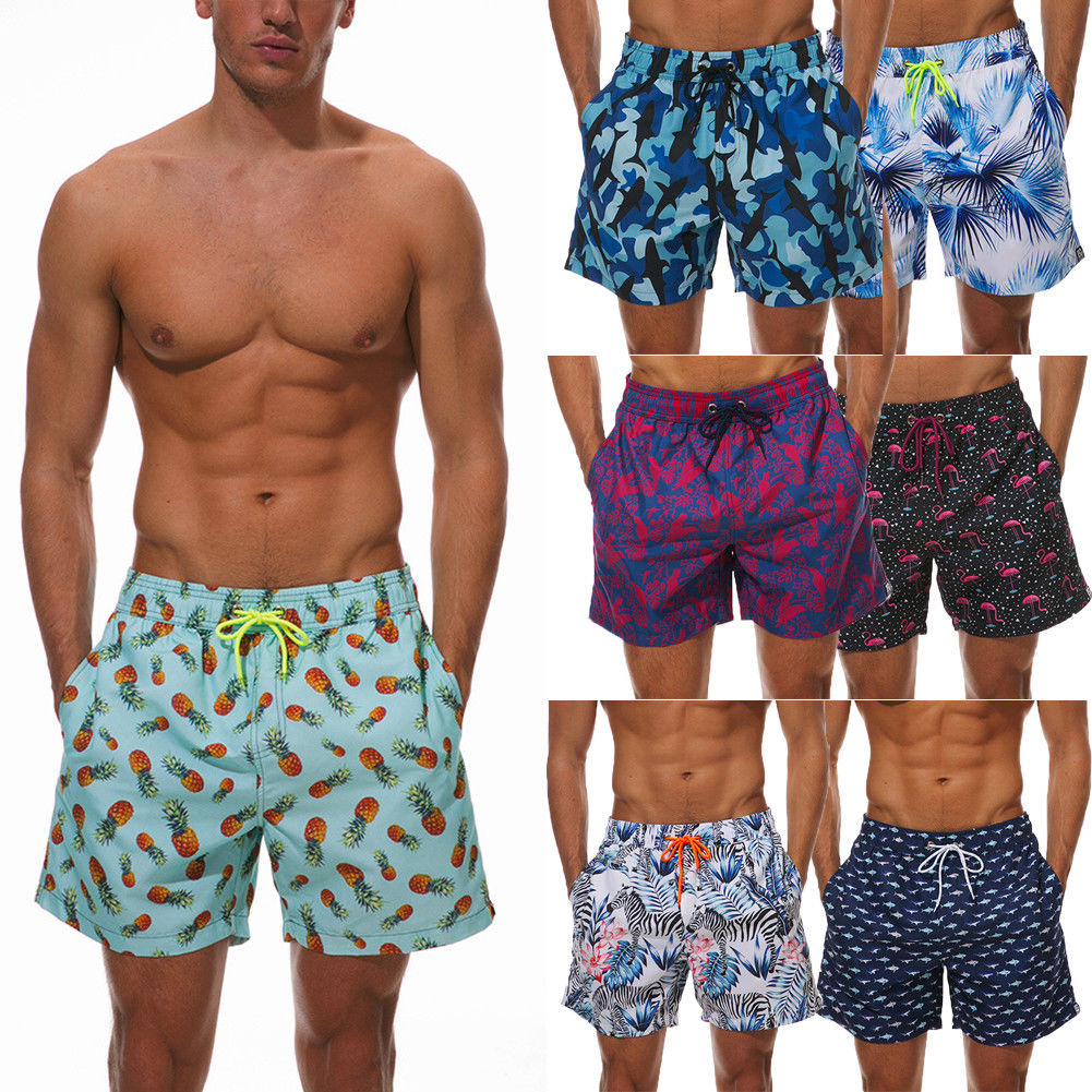 738e1e257d Summer Bathing Suit Boys Briefs Mens Swimming Board Printed Swim Shorts