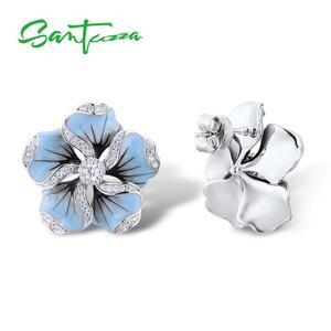 Image 3 - SANTUZZA Silver Stud Earrings For Women 925 Sterling Silver Blue Flower Sparkling Cubic Zirconia Fashion Jewelry Handmade Enamel