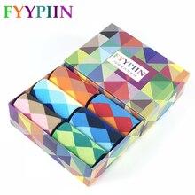 Men Socks New Sale 2019 6 Pair/lot Gift Box Cool Mens Happy Diamond pattern Socks Combed Cotton Novelty Gifts Socks Men