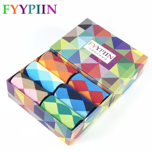 Image 1 - Men Socks New Sale 2019 6 Pair/lot Gift Box Cool Mens Happy Diamond pattern Socks Combed Cotton Novelty Gifts Socks Men