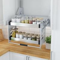 Organizador Gabinete Armario De Despensa Dish Rack Stainless Steel Hanging Cuisine Cocina Cozinha Kitchen Cabinet Basket