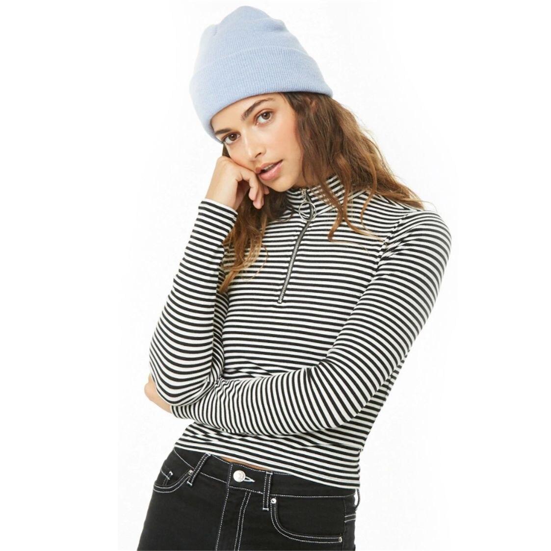 Women's Stripe Zipper Half Turtleneck Pullover Skinny Fitted Short Shirts Femme Long Sleeve Slim Fashion Tops