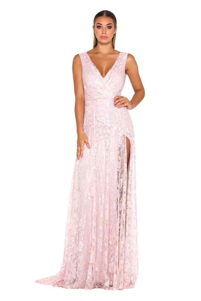 ... Lace Pink Evening Dresses 2018 Deep V-neck A-line Sleeveless Leg Slit  Long ... d646a17dc21b