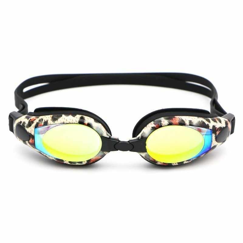 Professionele Zwembril Leopard Waterdicht Anti-fog UV 400 Vrouwen Water Sport Electroplated Swim Bril