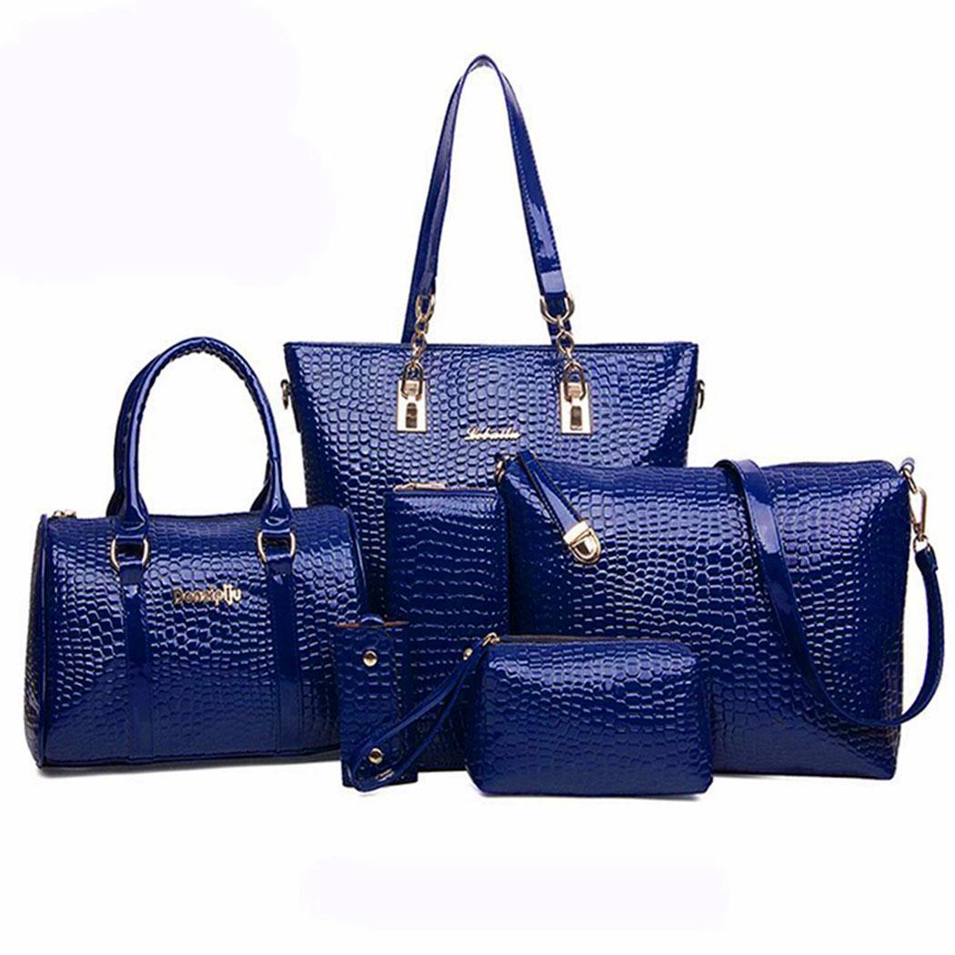 6Pcs Women Artificial Leather Bag Satchel Hobos Handbag Tote Purse Kit 6Pcs Kit Interior Slot Pocket Casual