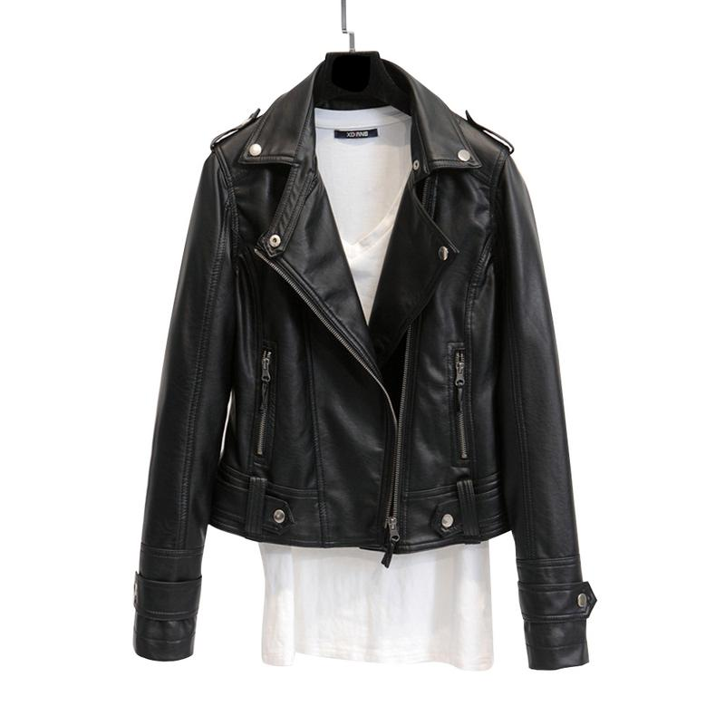 2019 Spring And Autumn Sexy Long-sleeved Lapel Zipper Motorcycle   Leather   Jacket Female Slim Large Size Windproof Short Coat