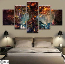 HD Printed Home Decor Paintings On Canvas Wall Art 5 Pieces Enchanted Tree Scenery Modular Vintage Pictures For Living Room