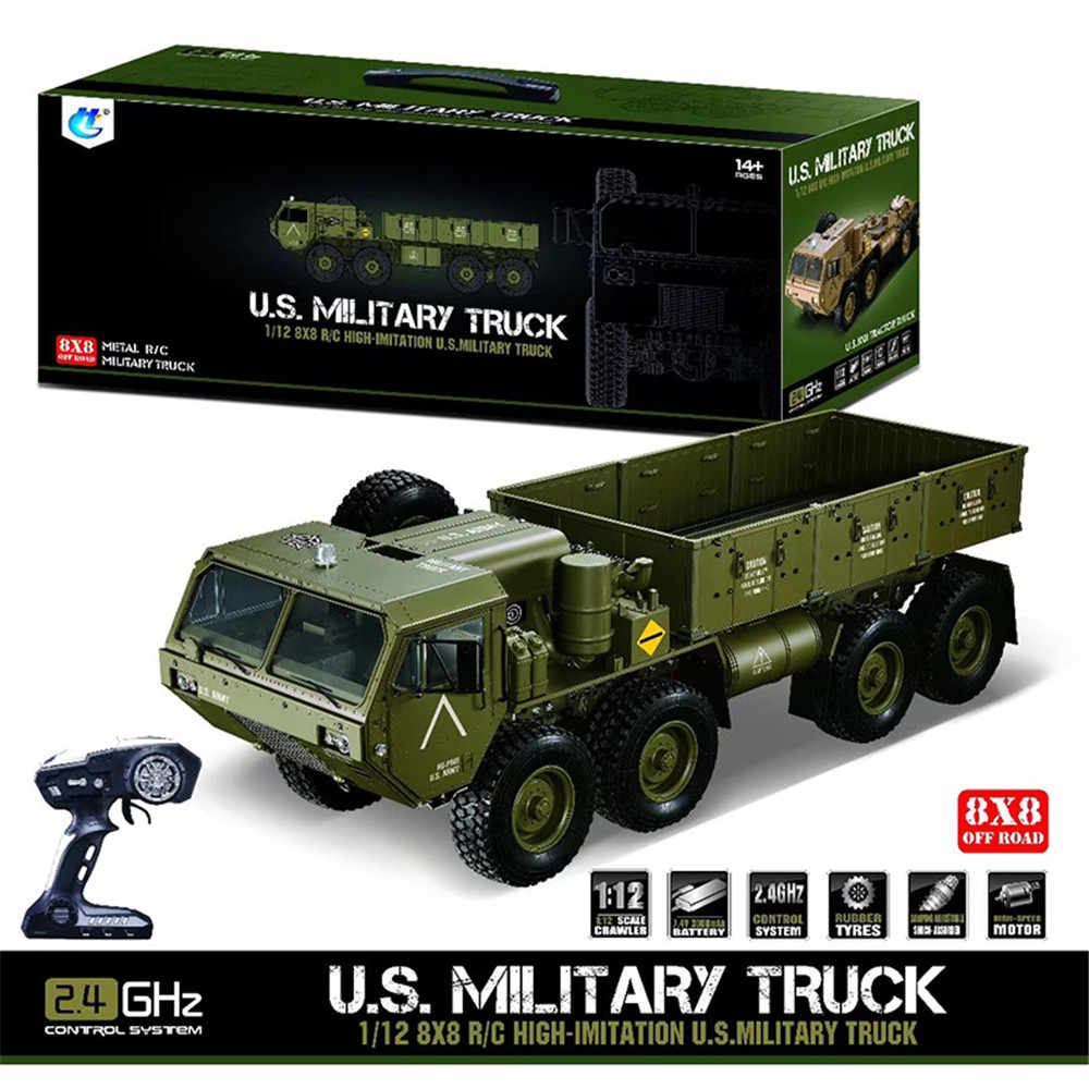 Hots HG P801 P802 1/12 2.4G 8X8 M983 739mm Geborsteld Rc Auto US Army Militaire Truck zonder Acculader Racing Car Voor KId Gift