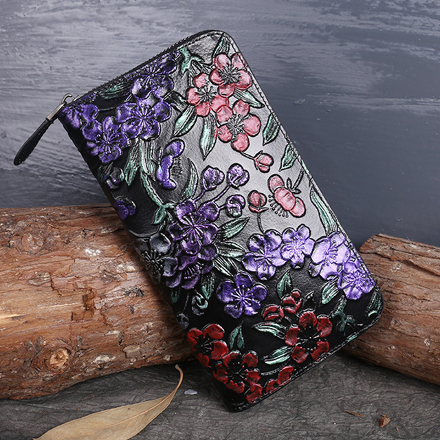 Women Genuine Leather Long Wallet ID Card Holder Coin Embossed Plum Flower Vintage Style Natural Skin Purse Money Handy Bag New