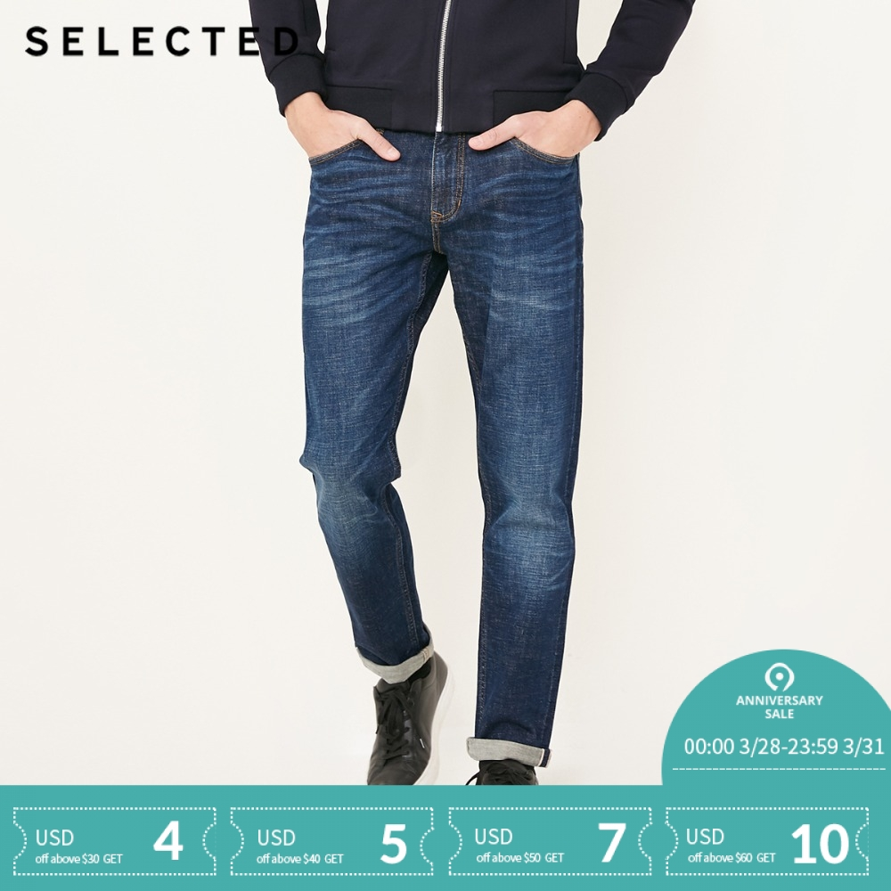 SELECTED Men's Autumn & Winter Cotton-blend Slight Stretch Straight Fit   Jeans   C|418132522