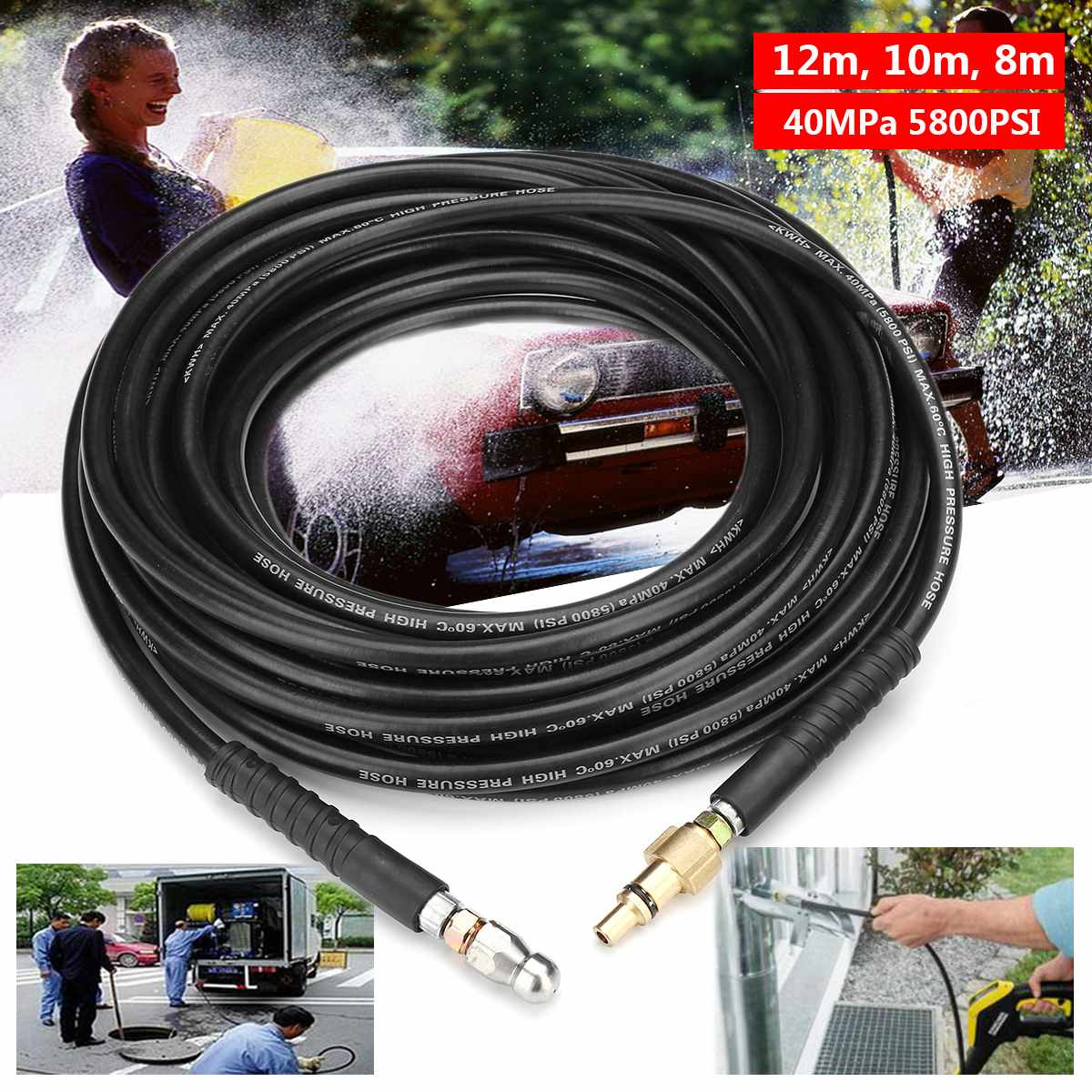 High Pressure 8/10/12m 40MPa 5800PSI Washer Drain Cleaning Hose Set Pipe Cleaner for Cleaning Ppipes Drains Downspouts ToiletsHigh Pressure 8/10/12m 40MPa 5800PSI Washer Drain Cleaning Hose Set Pipe Cleaner for Cleaning Ppipes Drains Downspouts Toilets