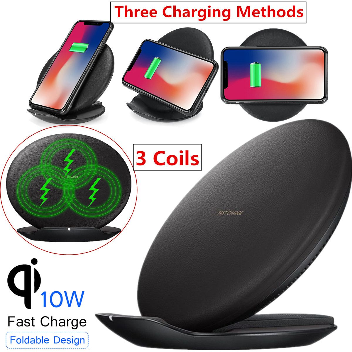 Charger-Pad Convertible Foldable Qi Wireless Galaxy S9 Fast Samsung For IPhone 1 9V XR