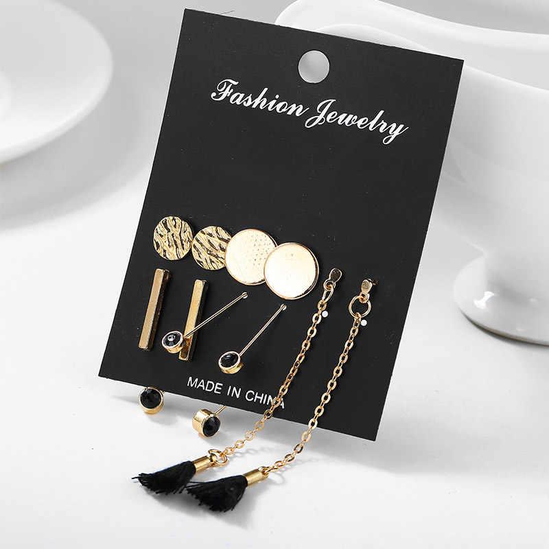 Długi Tassel kryształ łańcuch koreański akrylowe unikalne gorąca sprzedaż mieszane czarny 5 par/zestaw cyrkon okrągły wkręt kolczyki zestawy kolczyków kobiet