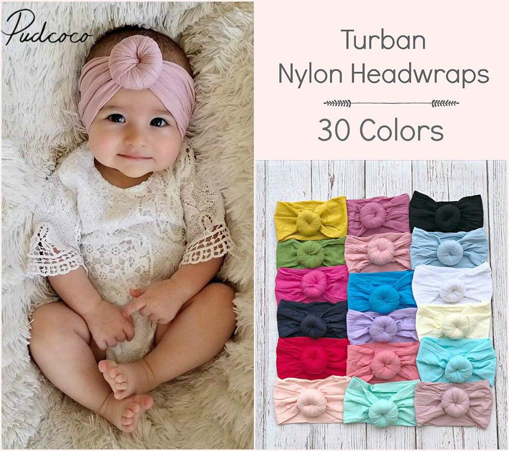 2018 Brand New 0-6Y Newborn Infant Kids Girls Nylon Bow Hairband Headband Stretch Turban Knot Head Wrap Headwear Gifts 21 Colors
