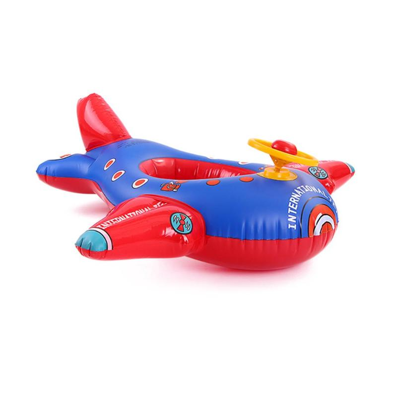 Kids Baby  Cartoon Plane-shaped Float Circle Swimming Ring  Water Play Pool Riding Toys  Safety Seat Riding Toys