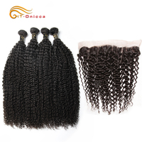 Mongolian Kinky Curly Bundles With Frontal Human Hair Bundles With Closure Curly Bundles With Frontal Remy Hair Extension