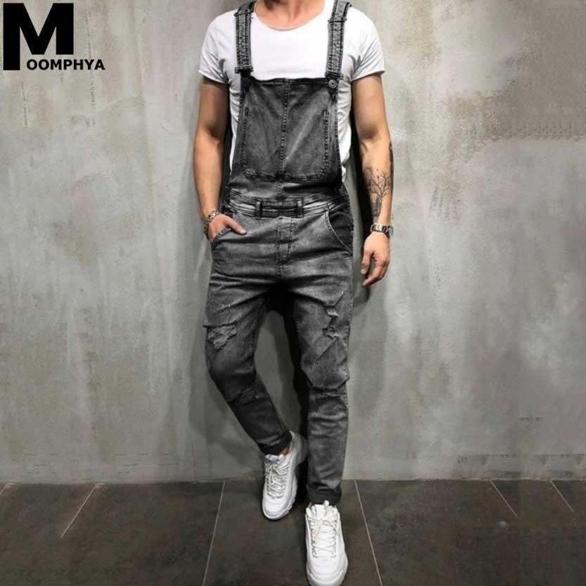 Moomphya streetwear long cargo pants overalls men   jeans