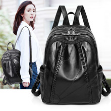 купить Genuine Leather Sheepskin Backpacks Female Both Shoulders Backpack Rucksack Large Capacity Travel Preppy Style Women Bags онлайн
