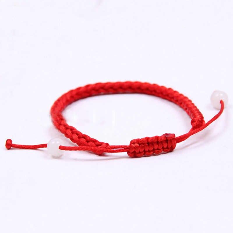 Quente 1 pc sorte corda vermelha coração pulseira para as mulheres cruz folha contas crianças corda vermelha ajustável artesanal pulseira diy jóias