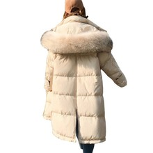 Winter Jacket Women Fashion Thickened Split Big Fur Collar Down Cotton Coat Parka Plus Size Long Padded Female Overcoat Ls123 стоимость