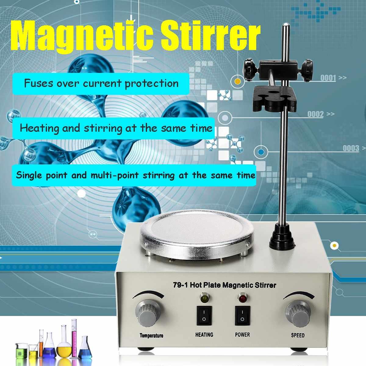 Laboratório Mixer De Controle de Aquecimento Dupla EUA/UA/UE 79-1 110/220V 250W 1000ml Chapa Quente Agitador Magnético Nenhum Ruído/Vibração de Fusíveis de Proteção