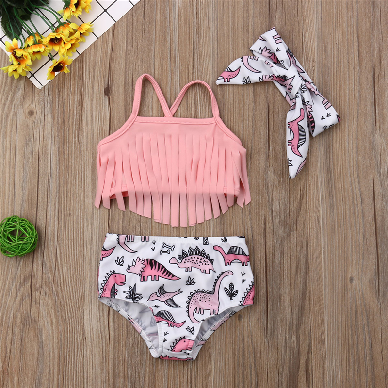 2019 Summer Toddler Kids Baby Girl Fashion Pink Tassel Bikini Set Swimwear Swimsuit Bathing Suit