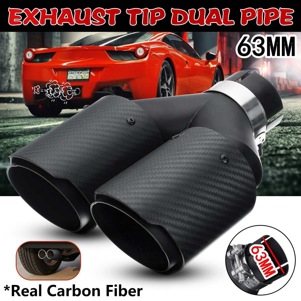 63 MM double sortie tuyau d'échappement universel en Fiber de carbone véritable mat noir silencieux d'échappement embout queue tuyau voiture Auto accessoires