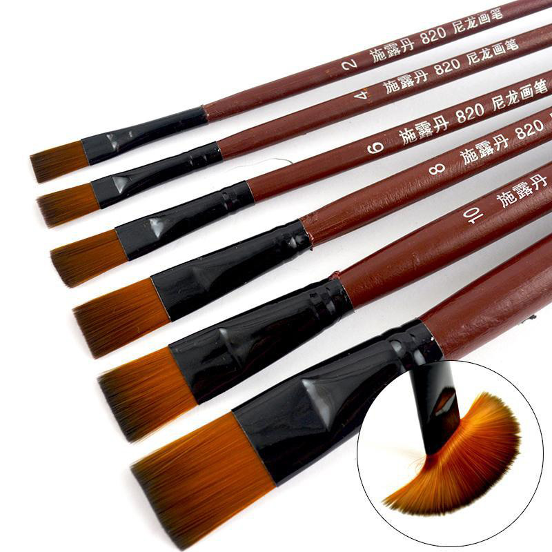 6pcs/set Artist Nylon Oil Paint Brush Pen For Painting Wooden Handle Paint Brushes For Acrylic Painting Student School Supplies