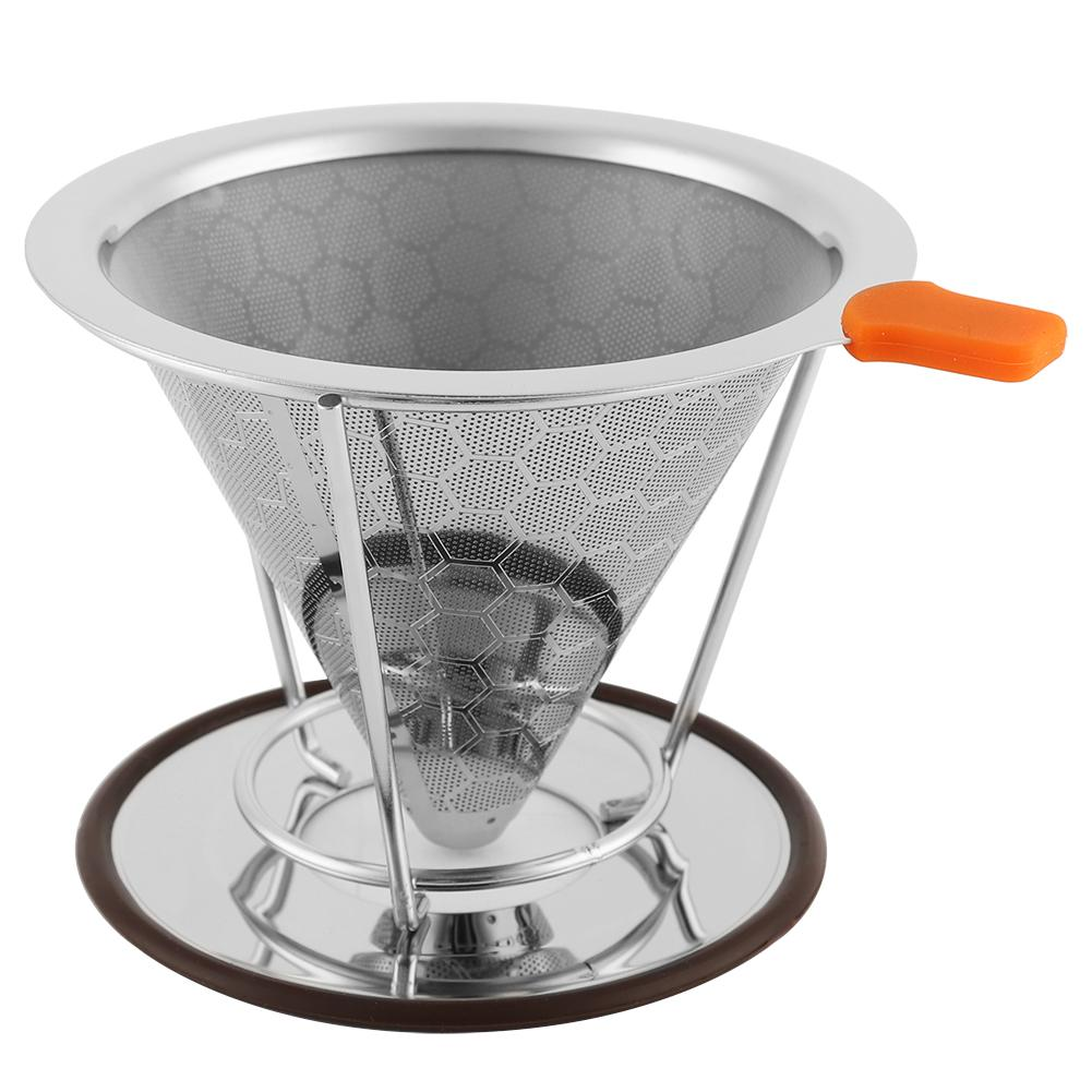 New Coffee Dripper Filter 125 x115mm Stainless Steel Reusable Coffee Dripper Filter Coffee Cone with Mesh