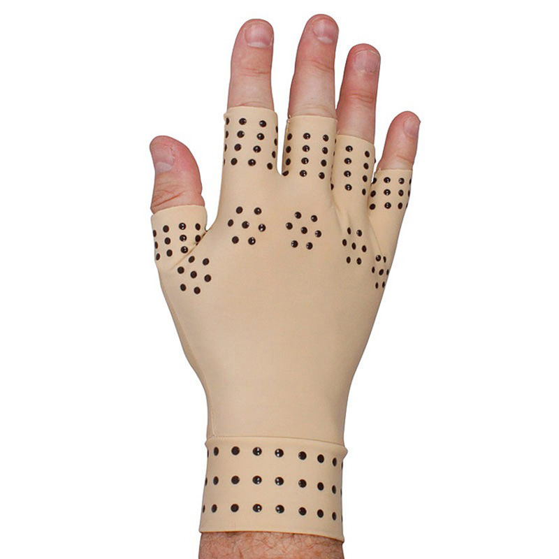 1 Pair Magnetic Therapy Gloves Hand Massage Fingerless Gloves Arthritis Pain Relief Heal Joints Braces Supports Health Care Tool