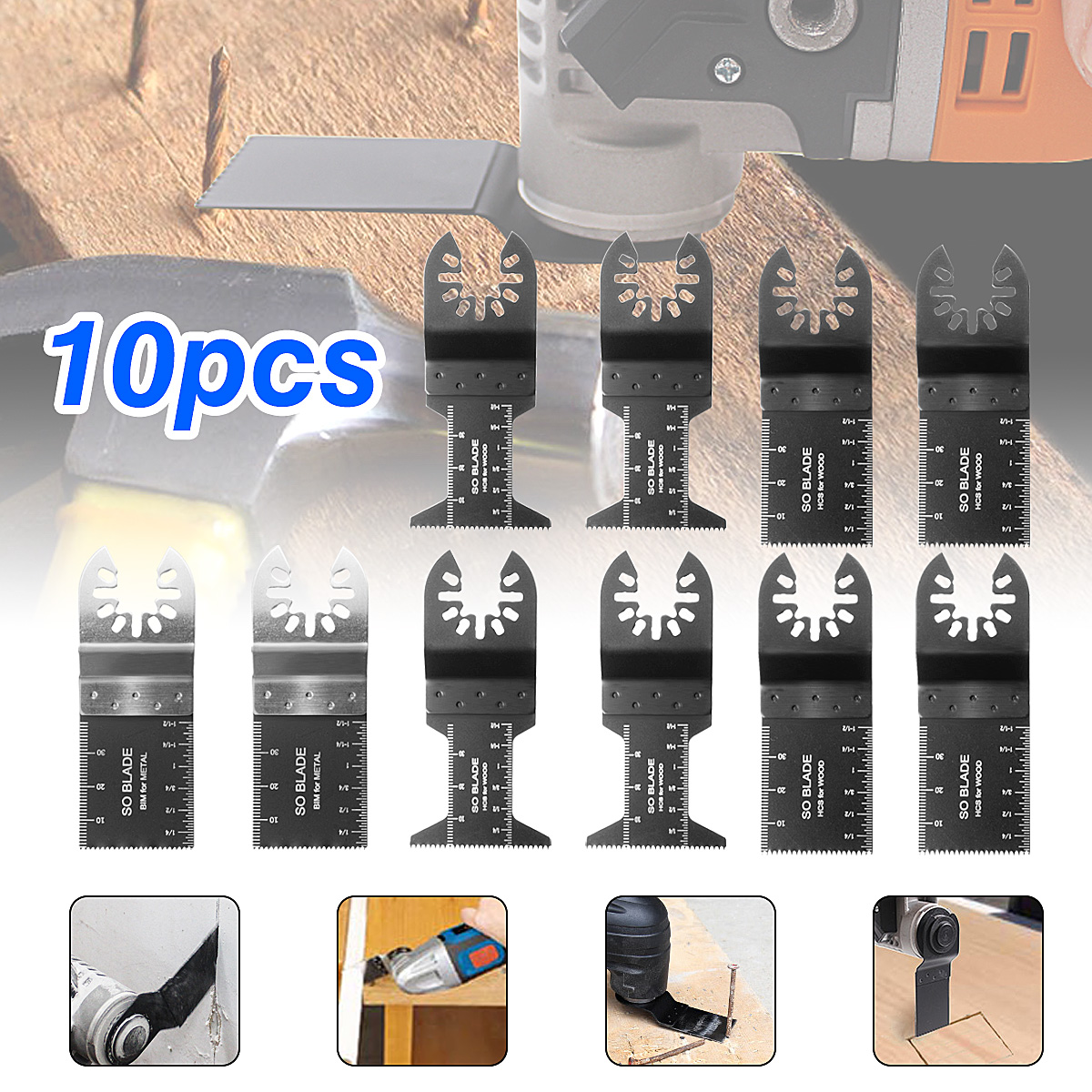 10Pcs Multitool Saw Blade Oscillating Blade Multi Tool Saw For Renovator For Bosch,Fein Multimaster Wood Cutting Accessories Kit