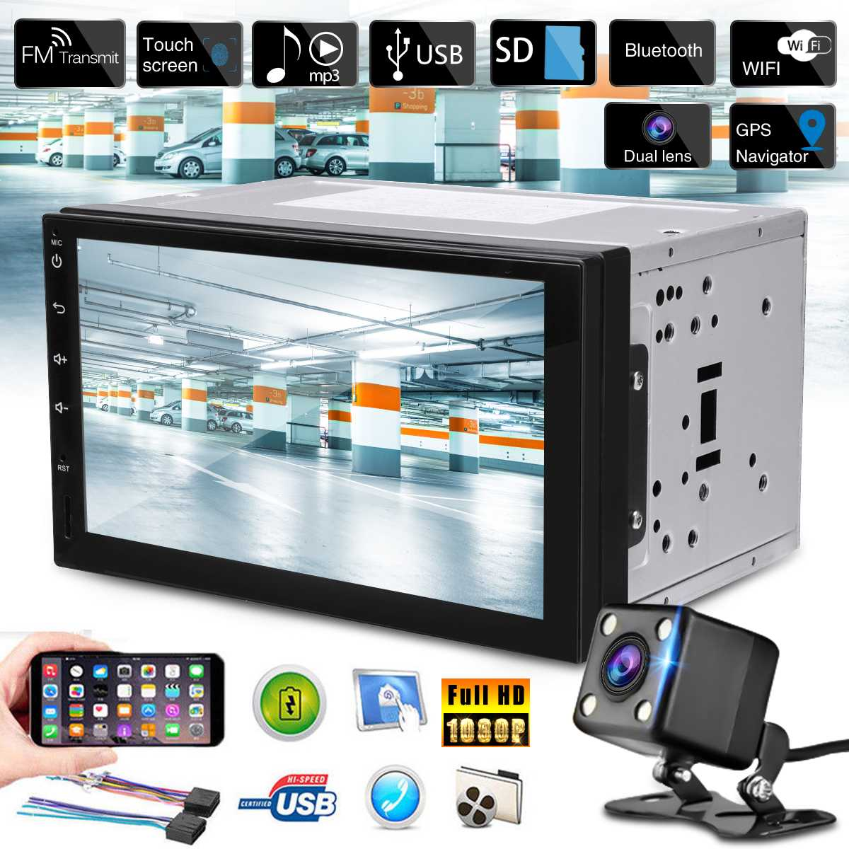 Autoradio bluetooth 7 ''Android 8.0 Autoradio Navigation GPS bluetooth USB SD 2 Din Autoradio + Image inversée