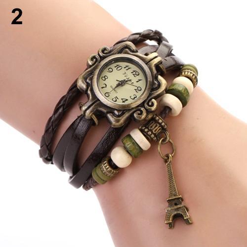 Bracelet Wrist-Watch Eiffel-Tower Faux-Leather Vintage Women Braided Fashion Multilayer