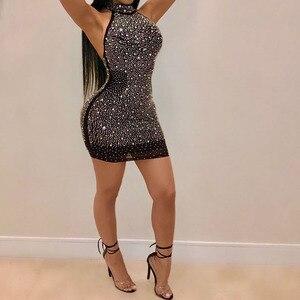 Glitter Dress Shiny Mini Women Sexy Elegant Bodycon Party Dresses Evening Summer Ladies Clothes vestidos de fiesta de noche