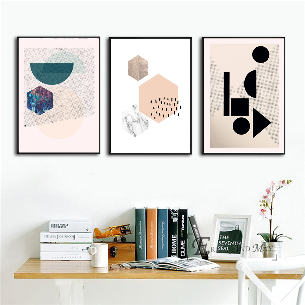 Geometric Wallpaper Scandinavian Style Canvas Painting Posters And Prints For Living Room No Framed Wall Art Picture Home Decor in Painting Calligraphy from Home Garden