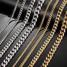 Цепочки и ожерелья s для Для мужчин Для женщин серебристый, черный золотой Нержавеющая сталь Кубинский цепи Для мужчин s Цепочки и ожерелья ювелирные изделия оптом 3/5/7/9/11 мм LKNM08
