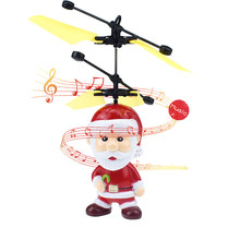 Funny Santa Claus Motion Sensor Santa Claus Christmas Ornament Hand Operated Drone Flying Toys for Boys or Girls(China)