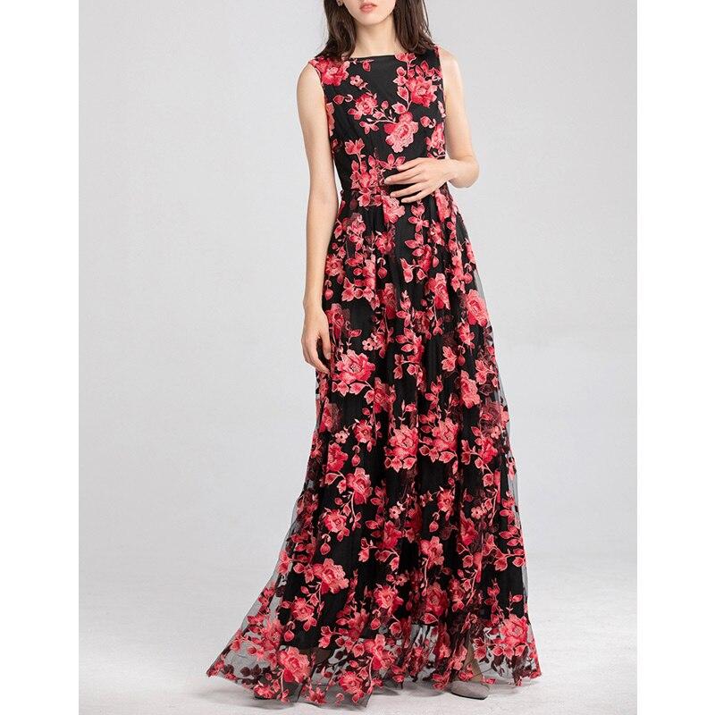 Floral Étage Voile Noël Robe Cou Longueur Brodé La Vêtements 2019 Longue Slash Rouge Fête Femmes Robes De Bal Pour Pq6t8Rzw