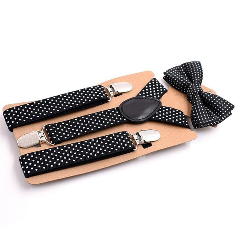 2019 New Bow Tie Suit Children's Strap Clip Black Print 3 Clip Boy And Girl Suspender Belt Strap Adjustable Fashion Novelty