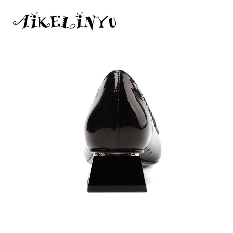 AIKELINYU 2019 Fashion Comfort Low Heel Lady Pumps Silver Black  Elegent Transparent Square Heel Shoes Spring Office Women Pumps