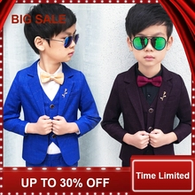 2018 Child Suits Slim Plaid Fashion Baby Blazer suit Jacket pant vest shirt 4parts Kids Costume Wedding Flower Boy Dress все цены