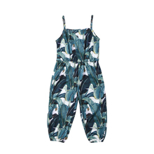 New Fashion Toddler Kids Baby Girl Floral Leaf print Romper Jumpsuit Sleeveless Casual Playsuit Outfit Clothes Summer Clothes black floral print drawstring sleeveless romper