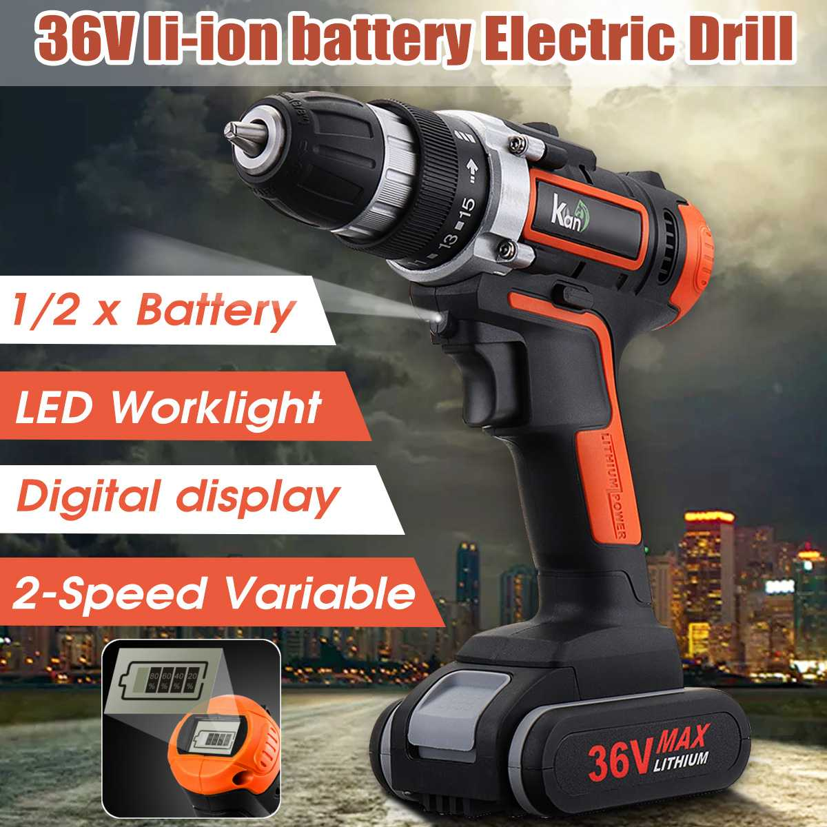 36V LED Light Cordless Electric Drill Double Speed, Digital Display, with 1/2 Lithium Battery Household Woodwooking Power Drills
