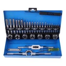32 pces em 1 métrica mão torneira conjunto torneiras ajustáveis dados chave de rosca parafuso plugues reamer retas ferramentas para reparação carro ferramenta