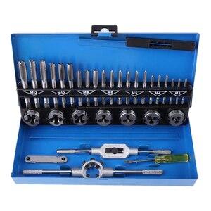 Image 1 - 32pcs in 1 Metric Hand Tap Set Adjustable Taps Dies Wrench Screw Thread Plugs Straight Taper Reamer Tools For Car Repairing Tool