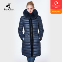 jacket women 2018 camperas mujer abrigo invierno coat women park Mink predecessor fox fur hat European design slim long warm