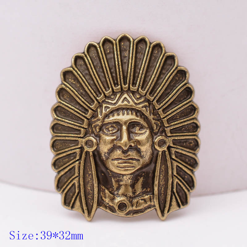 10PCS 39X32MM Retro Copper Cool Southeast Indian Headdress Skull Leather Craft Decoration Screw Back Work Conchos