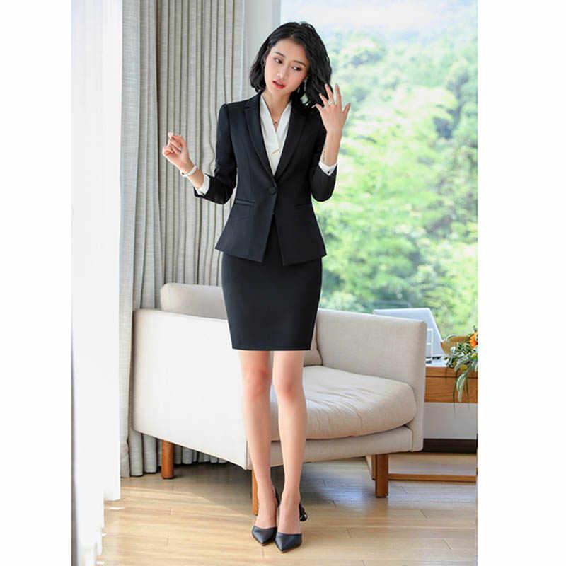 28f060a122eff Women Formal Suit Blazer+Elegant Skirt 2 Pieces Suit Office Uniform Designs  Career Workwear Female Clothes Set